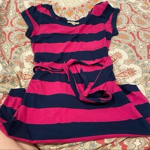J. Crew Navy & Fuschia Striped Knit T-Shirt Dress